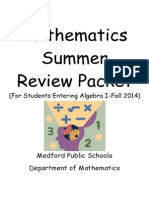 Algebra 1 Summer Skills Packet