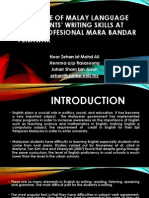 Influence of Malay Language on Students' Writing Skills at Kolej Profesional MARA Bandar Penawar