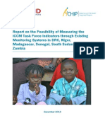 Report on the Feasibility of Measuring the iCCM Task Force Indicators through Existing Monitoring Systems in DRC, Niger, Madagascar, Senegal, South Sudan and Zambia
