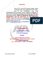 June 2014 Question Paper CA CPT - Part 1