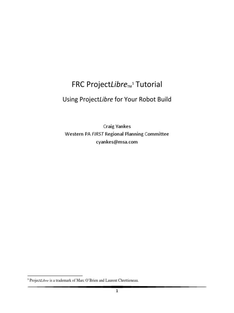 ProjectLibre FRC Tutorial | Computing | Technology