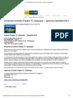 Pronóstico Estados Unidos vs Alemania – Apuestas Mundial 2014
