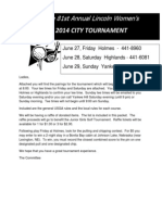 2014 City Tournament Tee Times & Rules
