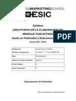 Syllabus de Creatividad en El Mensaje Publicitario