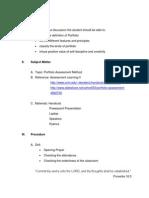 Lesson Plan MSC6 Detailed Lesson Plan in Portfolio Assessment Method of NW1 (Amarillas, Apo, Bernal & Peñarubia)