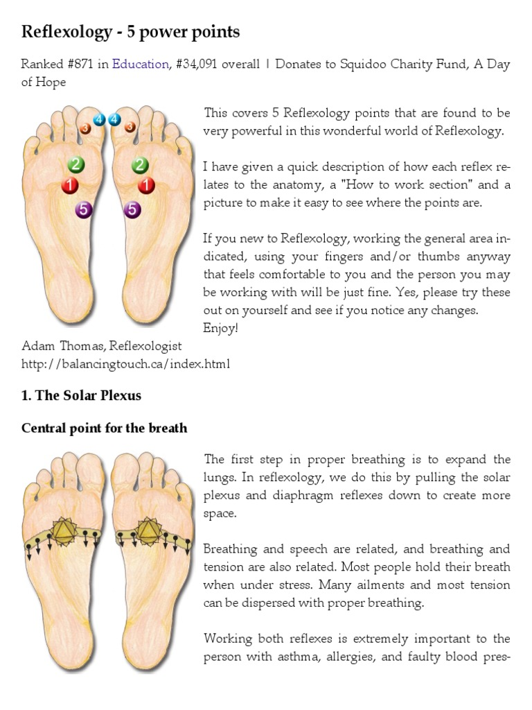 Reflexology - 5 Power Points   Breathing   Reflexology