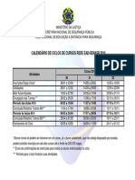 Calendário Da Rede EAD-Senasp - 2014