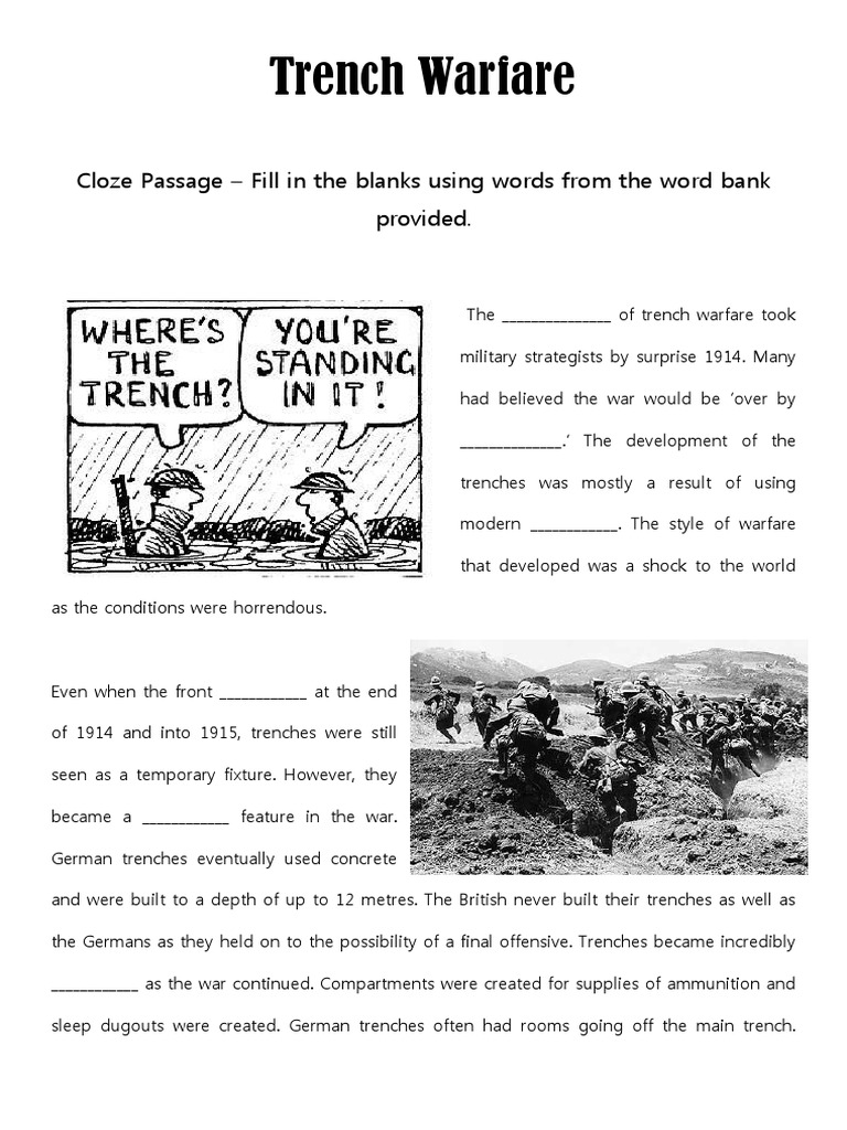 trench warfare cloze passage diagram activity | Trench