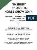Timsbury Show Schedule 2014