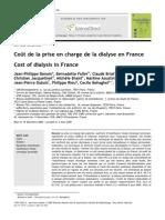 Benain Nephrol Therap 2007 Coût Dialyse France