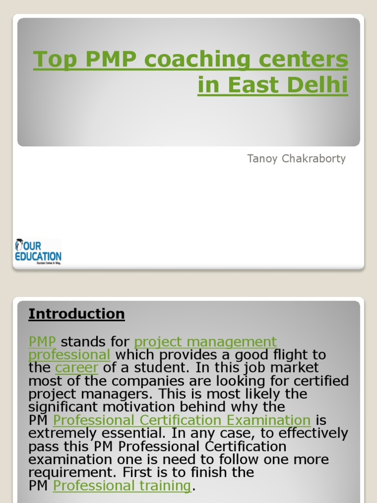Top Pmp Coaching Centers In East Delhi Professional Certification