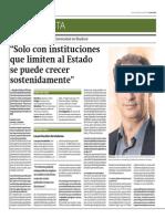 """""""Solo con instituciones que limiten al Estado se puede crecer sostenidamente"""" - GRADE/IEP - Gestión - 26/06/14"""