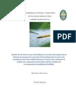 Análisis de Los Factores Que Más Influyen en La Defensa de Un Proyecto, Por Parte Del Estudiante de La Carrera de Estadística de La UATF, Mediante El ACP y Analisis CORMU