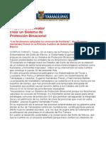 com0652, 280306 Eugenio Hernández propone crear Sistema de Protección Binacional.