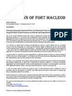 Town of Fort Macleod Statement on Mayor's Suspension: