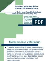 Características Generales de Medicamentos Veterinarios