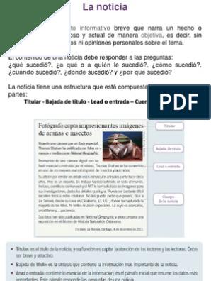 Noticia Texto Informativo Objetiva Qué A Qué A Quién Cómo