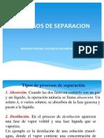 Tipos de Procesos de Separacion
