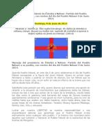 Mensaje del presidente de Êtômbâ â Ndôwé- Partido del Pueblo Ndowé a su pueblo, con motivo del día del Pueblo Ndowé 9 de Junio 2014.