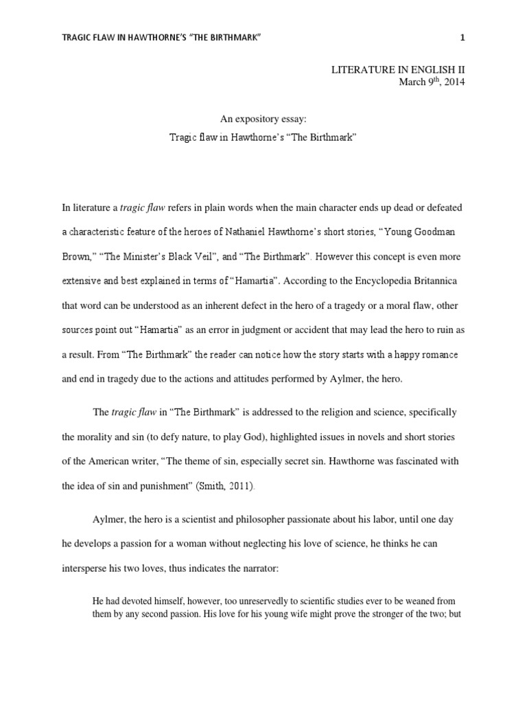 The birthmark analysis essay