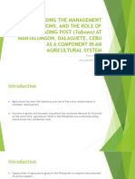 ASSESSING THE MANAGEMENT OPERATIONS, AND THE ROLE OF THE TRADING POST (Taboan) AT MANTALONGON, DALAGUETE, CEBU AS A COMPONENT IN AN AGRICULTURAL SYSTEM