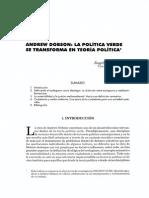 Dobson La Politica Verde Se Transforma en Teoria Politica Verde