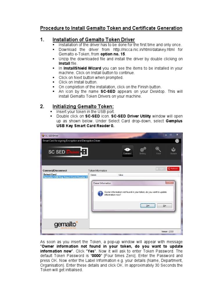 User Instructions Gemalto Tokens | Public Key Certificate | Smart Card