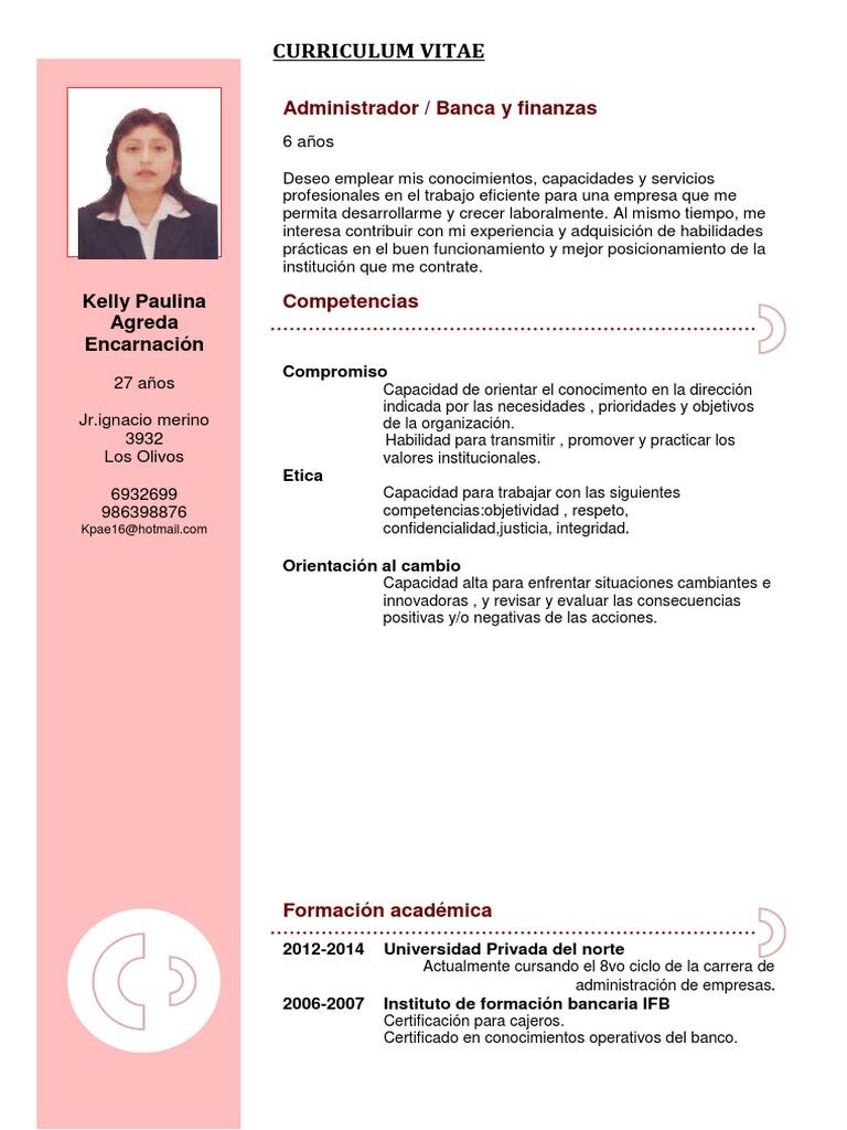 Fantástico Muestra De Curriculum De Trabajo Bancario Imágenes ...