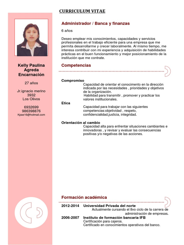 Hermosa Ejemplo De Currículum Para Cajero De Banco Bosquejo ...