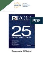 EURISPES Sintesi Rapporto Italia 2013