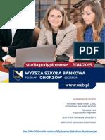 Informator 2014 - Studia podyplomowe - Wydział Zamiejscowy w Chorzowie Wyższej Szkoły Bankowej w Poznaniu