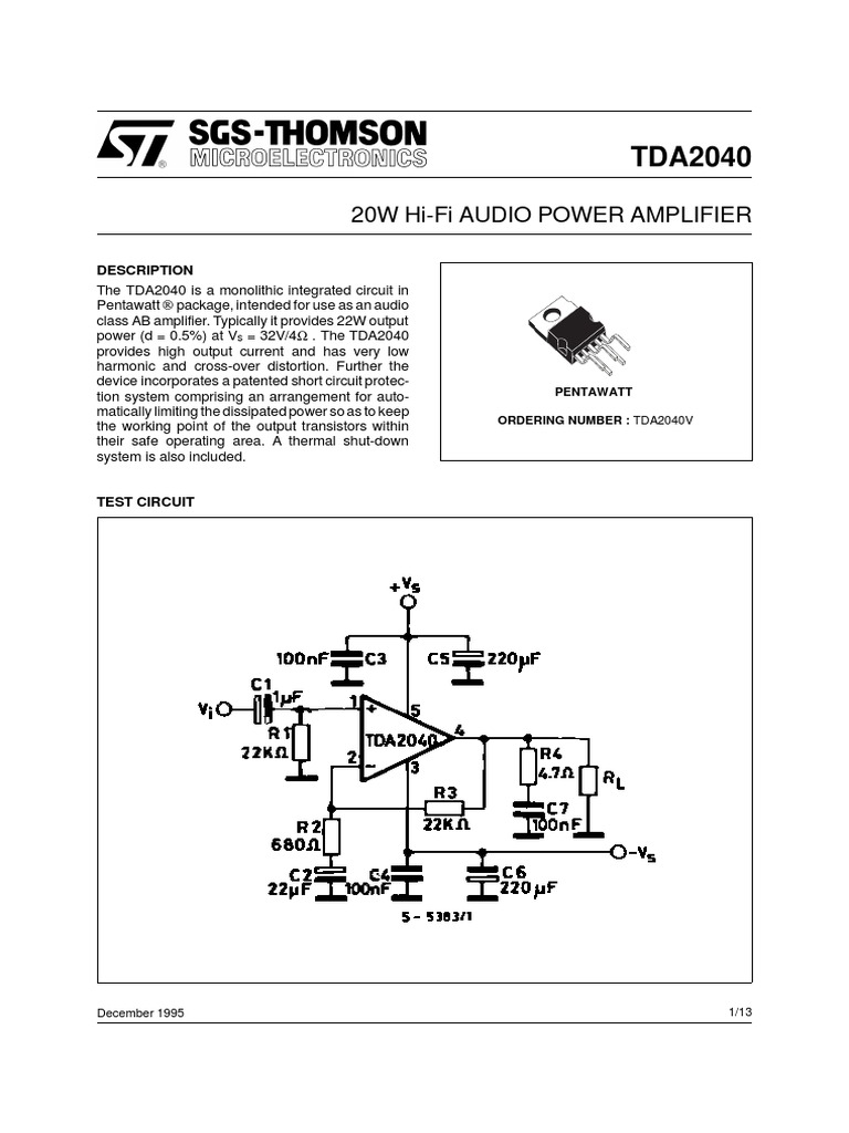 Data Ampli Loudspeaker Amplifier Tda2040 Car Stereo Circuit Diagram