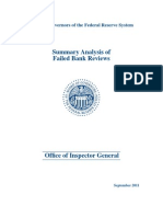 FRB Summary Analysis of Failed Bank Reviews - Sep 2011