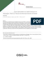 A. Faivre, Théosophie Et Mystique Spéculative Du Siècle Baroque en Allemagne