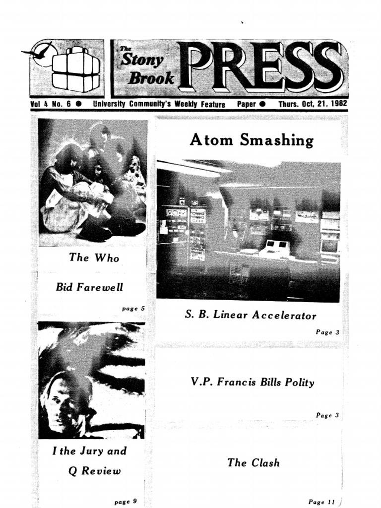 The Stony Brook Press Volume 4 Issue 6 Particle Accelerator Cyberphysics Nuclear Power Atomic Nucleus