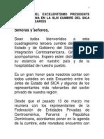 Discurso del Presidente Danilo Medina a Empresarios en la XLIII Cumbre del SICA