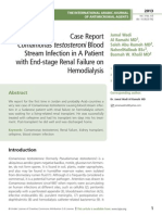 We report for the first time in Jordan and probably Arab countries a very rare case of Comamonas testosteroni causing blood stream infec- tion in a Sudanese patient with renal failure on hemodialysis whom was waiting for a living-related renal transplant. He was successfully treated with cefepime and had his transplant ten days into his treat- ment. Post-transplant he did well and was discharged home.