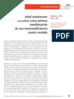 Enfermedad autoinmune  sistémica como primera manifestación  de una inmunodeficiencia  común variable