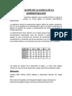 Aplicaion Logica y Conjuntos en La Administracion