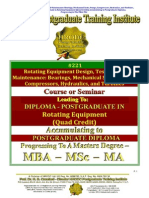 Rotating Equipment Design Testing and Maintenance Bearings Mechanical Seals Pumps Compressors Hydraulics Turbines Quad Credit Course