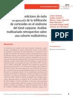 Factores predictores de éxito terapéutico de la infiltración de corticoides en el síndrome del túnel carpiano