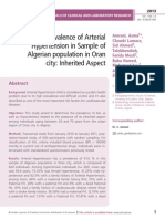 The Prevalence of Arterial Hypertension in Sample of Algerian population in Oran city