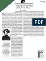 La Grecia Cristiana di Simone Weil