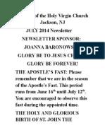Nativity of the Holy Virgin Church - Newsletter # 23