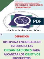 Definicion, Objeto de Estudio y Elementos de La Administracion - Copia