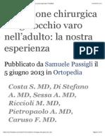 Correzione Chirurgica Del Ginocchio Varo Nell'Adulto La Nostra Esperienza