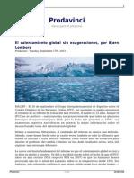 El Calentamiento Global Sin Exageraciones Por Bjorn Lomborg