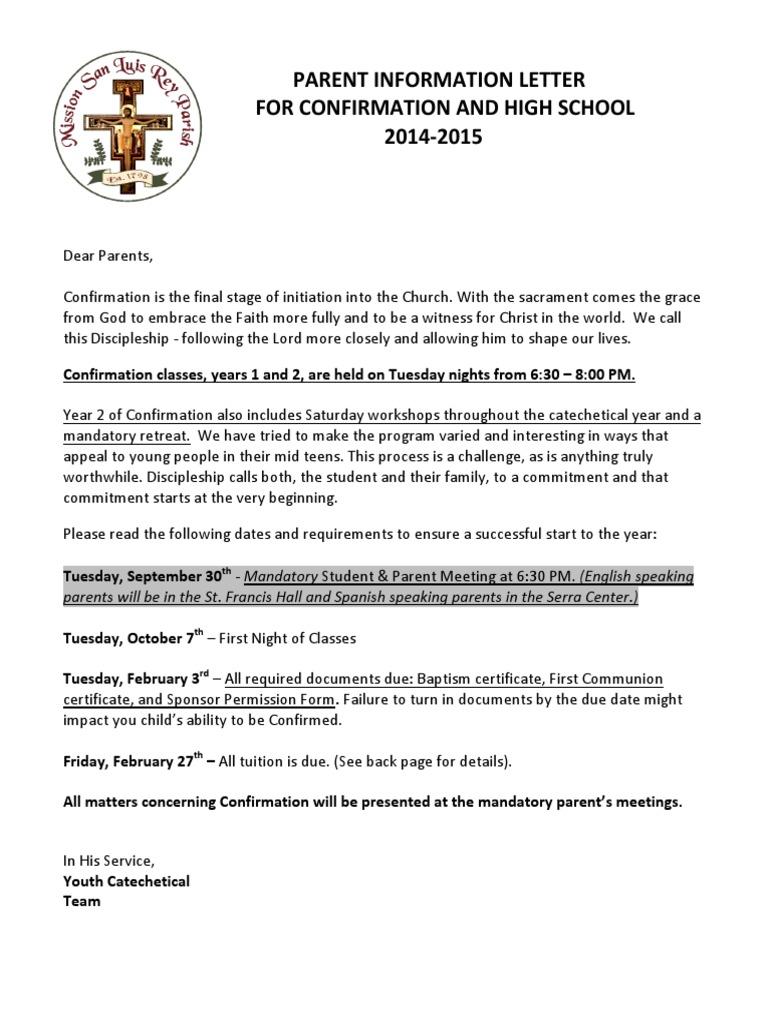 English Confirmation Orientation Letter 2014-2015 | Confirmation (50