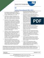 Bill Summary -- Drugs and Cosmetics Amendment Bill 2013