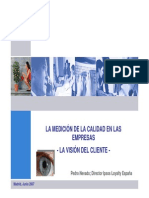 La Medicion de La Calidad en Las Empresas. La Vision Del Cliente. 2007